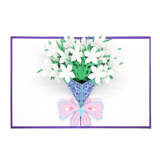 White Flowers Pop Up Card